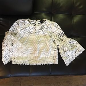 J. Crew Bell Sleeve Daisy Lace Top